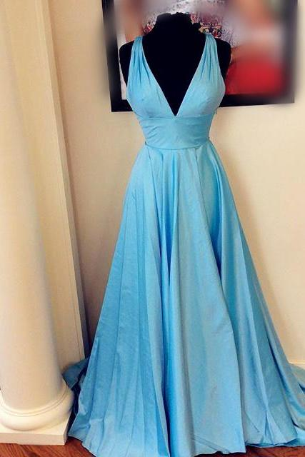 Evening Dresses, Prom Dresses,Party Dresses,New Arrival Prom Dress,Modest Prom Dress,long v neck satin ball gowns evening dresses 2017 simple sky blue prom dress