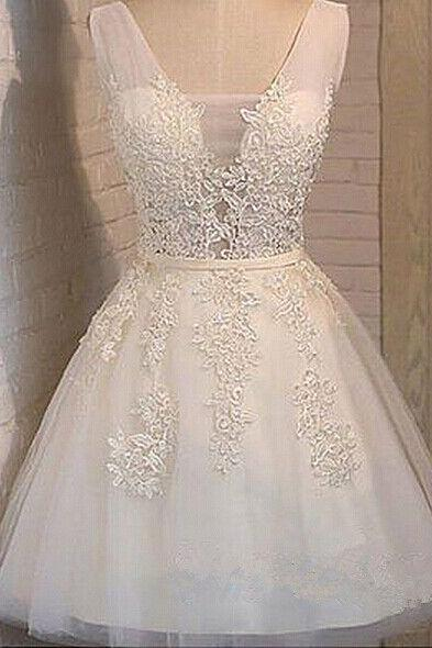 cute white a line applique bridesmaid dress,tulle homecoming dresses,women party dresses,lace up homecoming dresses,homecoming dresses