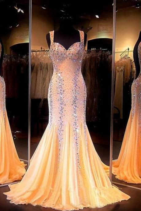 Evening Dresses, Prom Dresses,Party Dresses,New Arrival Prom Dress,Modest Prom Dress,Mermaid Prom Dresses 2017 Sweetheart Sleeveless Backless Sweep Train Chiffon with Crystal Long Formal Dress Beaded Party Dresses