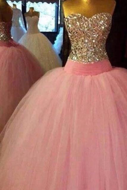 Evening Dresses, Prom Dresses,Party Dresses,New Arrival Prom Dress,Modest Prom Dress,Crystal Beaded Sweetheart Pink tulle Ball Gowns, Prom Dress 2017