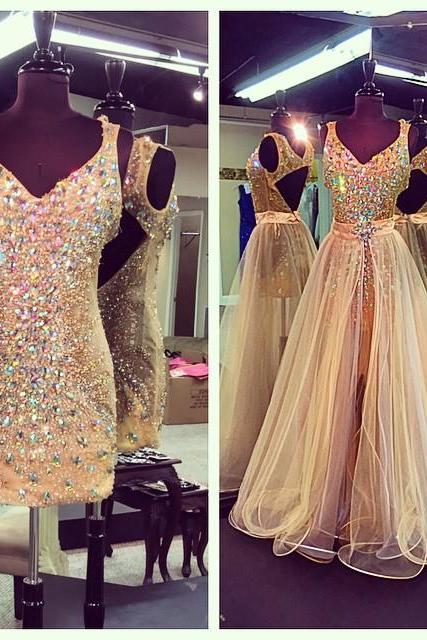 Evening Dresses, Prom Dresses,Party Dresses,New Arrival Prom Dress,Modest Prom Dress,Crystal Beaded V Neck Champagne Prom Dresses With Detachable Skirts