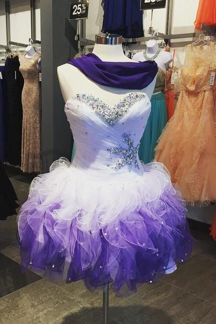 Homecoming Dresses,Beaded Sweetheart tulle Ruffles Ombre Prom Dress ,Short 2017 Sexy Homecoming Dress