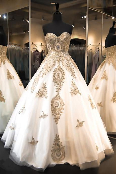 New Arrival Prom Dresses,Modest Prom Dress,gold lace appliques wedding dresses,ball gowns wedding dress,princess wedding dress,princess bridal dress,bride dress,wedding gowns,wedding dresses