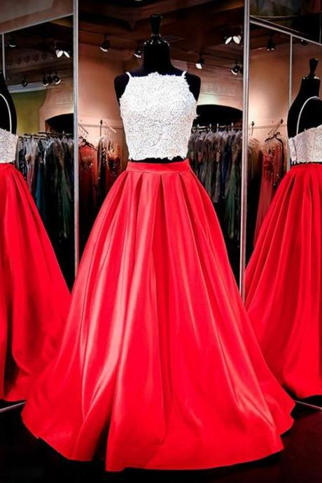 Evening Dresses, Prom Dresses,Party Dresses,Pretty Prom Dresses,Two Piece Prom Dresses,Spaghetti Straps Prom Dresses,Satin Evening Dresses,Red Evening Gowns,Modest Prom Dresses