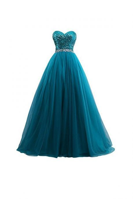 Evening Dresses, Prom Dresses,Party Dresses,Sexy Tulle Sequin Ball Gown Prom Dresses ,Evening Gown