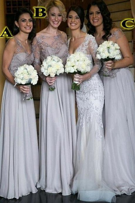 Custom Made Lace and Chiffon Long A-Line Mismatched Bridesmaid Dress