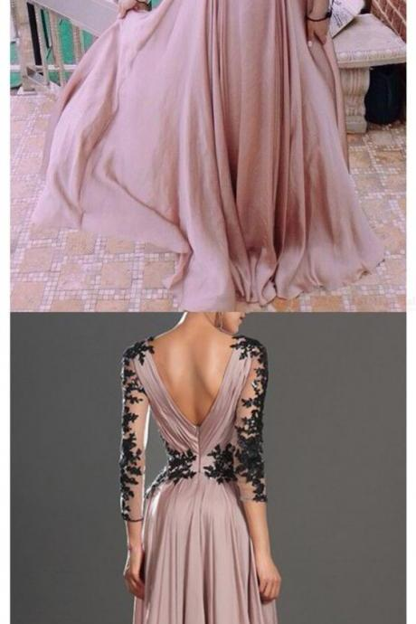 Evening Dresses, Prom Dresses,Party Dresses,Blush Pink Prom Dresses,Vintage Prom Gown,Women Boho Long Sleeves Plus Size Evening Gowns,V neckline Party Dress,Black Lace Evening Dress