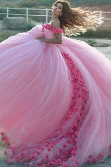 Evening Dresses, Prom Dresses,Party Dresses,New Arrival Prom Dress,Modest Prom Dress,Flower wedding dress,pink wedding dress,ball gown wedding dress,wedding dress