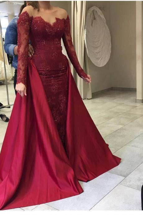 Evening Dresses, Prom Dresses,Party Dresses,New Arrival Prom Dress,Modest Prom Dress,wine red prom dress,long sleeves burgundy prom dress,mermaid burgundy prom dress