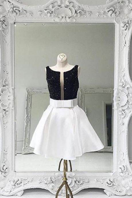 white homecoming dress,short prom dress 2017,bow dress,sequins homecoming dress,sparkly homecoming dress,satin dresses,homecoming dresses