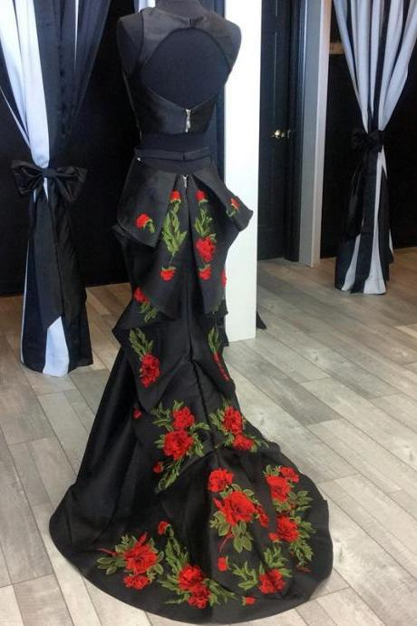 Evening Dresses, Prom Dresses,Party Dresses,New Arrival Prom Dress,Modest Prom Dress,black evening dress,mermaid prom dresses,two piece prom dresses,backless prom dress,prom dress 2017,embroidery dresses