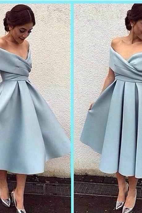 Blue Off-the-Shoulder A-line Midi Evening Dress,Homecoming Dresses,Short Prom Dress