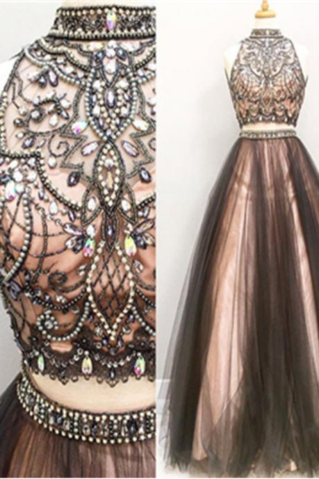 Evening Dresses, Prom Dresses,Party Dresses,Prom Dress, Prom Dresses, Two Pieces Prom Dresses,A-line Tulle Prom Gowns,Halter Beading Evening Dresses,Beautiful Party Dresses,Cute Dress
