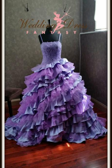 Evening Dresses, Prom Dresses,Party Dresses,Prom Dress, Prom Dresses, Prom Dresses,Cheap Elegant Real Image Gothic Purple Wedding Dresses, Vestidos de Novia Mermaid Tiered Ruffle Appliques Beads Bridal Gowns