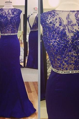 Evening Dresses, Prom Dresses,Party Dresses,Prom Dress, Prom Dresses, Prom Dresses,Lace Prom Gown,Open Back Prom Dresses,Royal Blue Evening Gowns,Lace Party Dresses,Beaded Evening Gowns,Backless Formal Dress For Teens