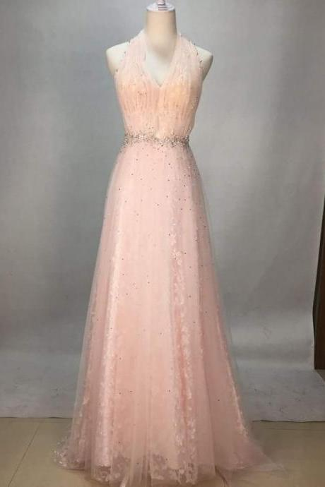 Evening Dresses, Prom Dresses,Party Dresses,Prom Dress, Prom Dresses, Prom Dresses,Prom Dresses,Sexy pink halte neck sleeveless beaded chiffon long prom dress