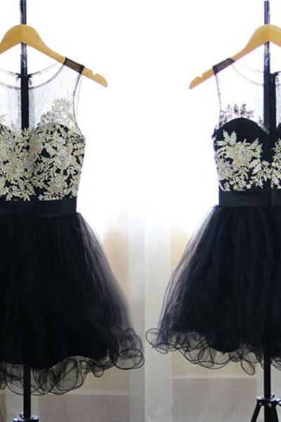 Evening Dresses, Prom Dresses,Party Dresses,Prom Dress, Prom Dresses, Prom Dresses,Prom Dresses,Pretty Handmade Black Tulle Short Prom Dresses with Lace Applique, Black Homecoming Dresses, Short Black Party Dresses