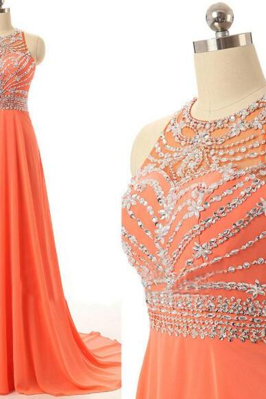 Evening Dresses, Prom Dresses,Party Dresses,Prom Dress, Prom Dresses, Prom Dresses,Prom Dresses,Beautiful Chiffon Halter Beaded Backless Long Prom Dresses 2017, Prom Gowns, Prom Dresses 2017