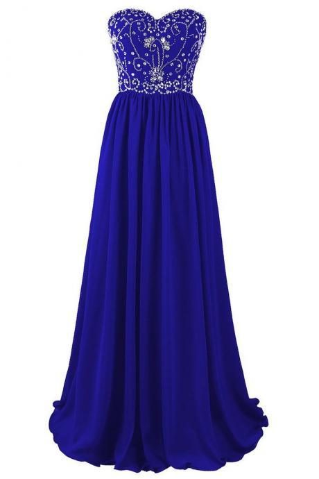Evening Dresses, Prom Dresses,Party Dresses,Prom Dress, Prom Dresses, Prom Dresses,Prom Dresses,Beautiful Blue Chiffon Beaded A-line Prom Dresses 2017, Blue Long Prom Gowns, Party Dresses, Evening Dresses