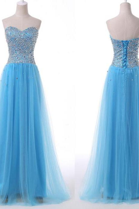 Evening Dresses, Prom Dresses,Party Dresses,Prom Dress, Prom Dresses, Prom Dresses,Prom Dresses,Beautiful Handmade Blue Tulle Long Prom Dress 216, Blue Prom Dresses, Prom Gowns 2016