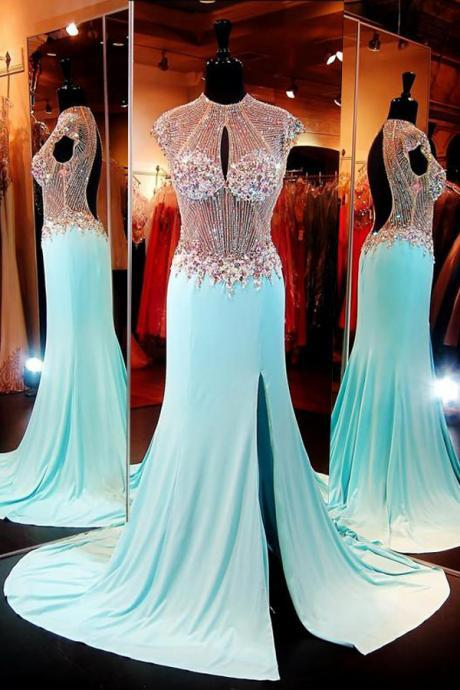 Evening Dresses, Prom Dresses,Party Dresses,Mermaid Prom Dresses, Luxuriours High Neck Baby Blue Split Open Back Sweep Train Prom Dress with Beading