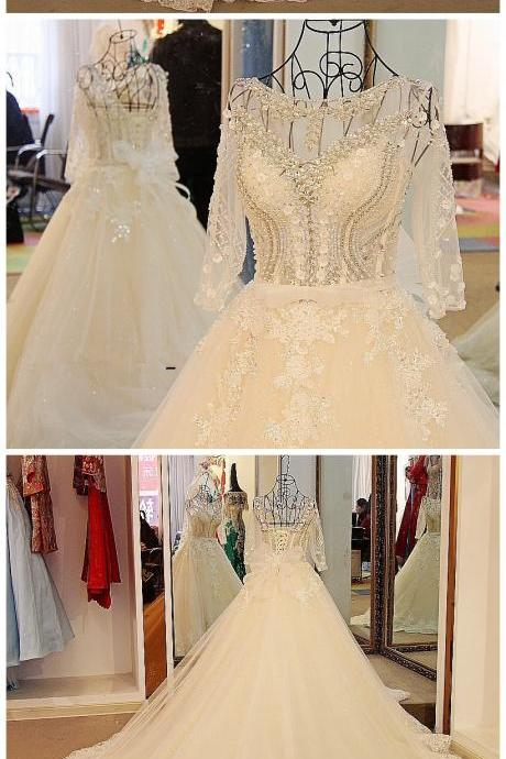 Sexy Long Sleeves Wedding Dress White Flash Diamond Long Train Bride Dress 2017 100% Real Picture,Wedding Dresses