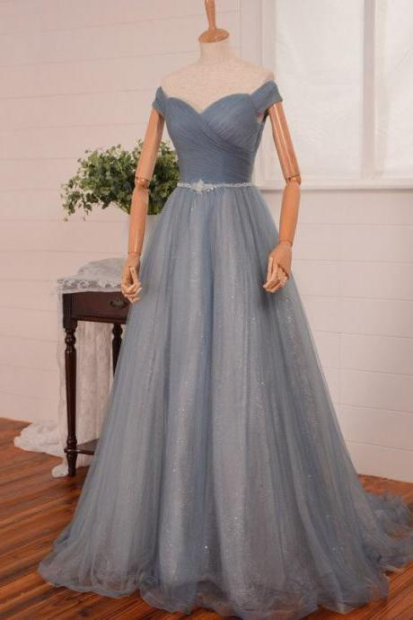 Off-The-Shoulder Floor Length Tulle Ball Gown Featuring Beaded Embellished Belt, Formal Dress, Prom Dress