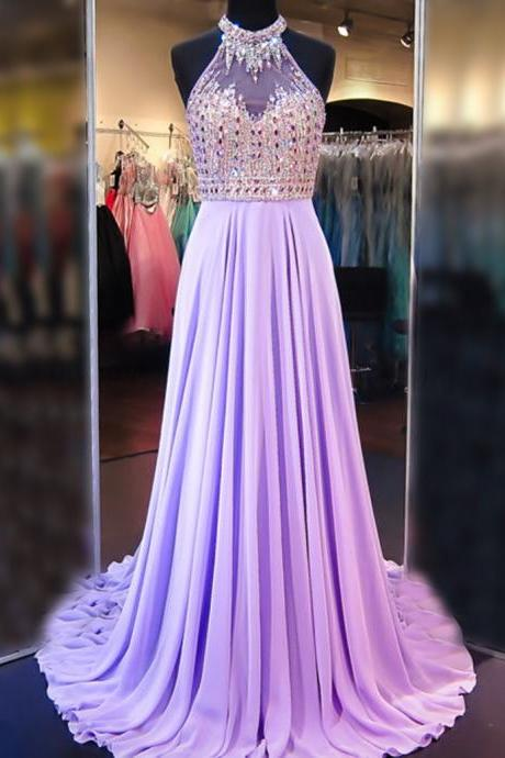 Evening Dresses, Prom Dresses,Party Dresses,A Line Cowl Neck Sleeveless Long Pleated Beaded Lilac Prom Dress Open Back Prom Dresses
