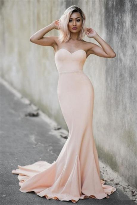 Evening Dresses, Prom Dresses,Party Dresses,Prom Dresses,Prom Dresses,Long Prom Dresses,Pale Pink Sweetheart Mermiad Evening Dresses Strapless 2017 Cheap Prom Dress