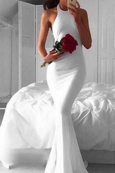 Evening Dresses, Prom Dresses,Party Dresses,Prom Dresses, Prom Dresses,Evening Dress,Party Dresses,Simple Halter Long Sleeveless White Mermaid Prom Dress,Cheap Prom Dress,Evening Gowns for Teens