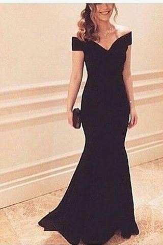 Evening Dresses, Prom Dresses,Party Dresses,Prom Dresses, Prom Dresses,Evening Dress,Party Dresses,Black Off The Shoulder Satin Mermaid Prom Dress, Evening Dress, Formal Gown