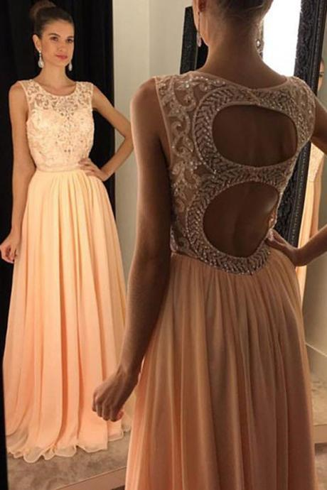 Evening Dresses, Prom Dresses,Party Dresses,Prom Dresses, Prom Dresses,Evening Dress,Party Dresses,New Arrival Prom Dress,Stylish Round Neck Sleeveless Peach Open Back Prom Dress with Beading