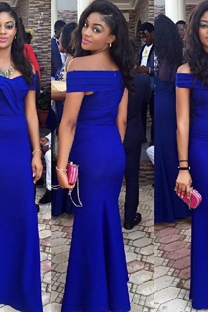 Royal Blue Off-The-Shoulder Floor Length Trumpet Wedding Guest Dress