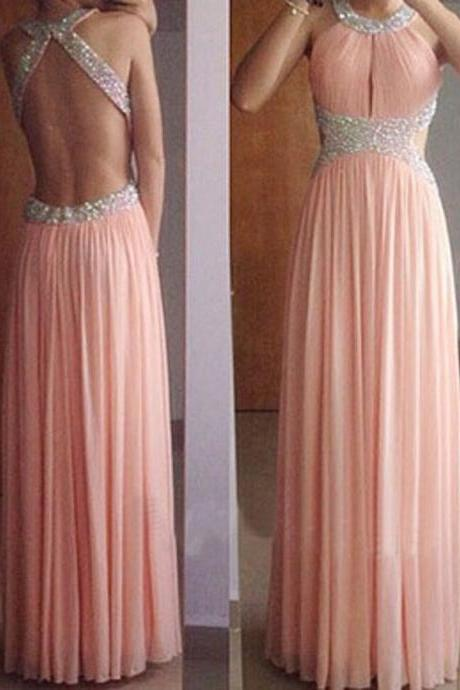 Prom Dresses,Evening Dress,Party Dresses,Pink Chiffon Prom Dresses,Beading Prom Dress,A-line Open Back Prom Gowns,Long Prom Dresses Elegant Party Dresses,Cheap Evening Dresses