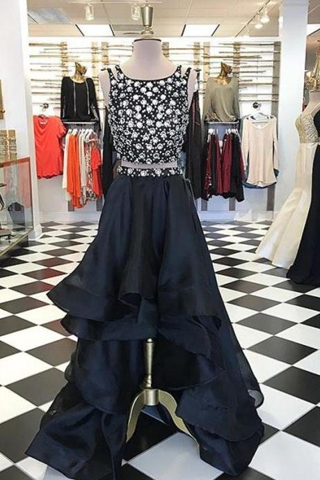 Prom Dresses,Evening Dress,Party Dresses, Asymmetrical Two Piece A-Line Black Prom Dress - Crew High Low Tiered Beading
