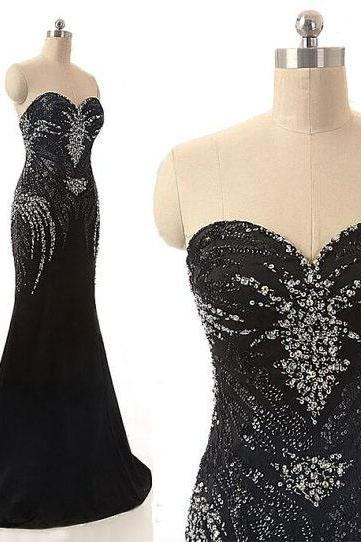 Black Sequinned Floor Length Trumpet Prom Dress Featuring Sweetheart Neckline