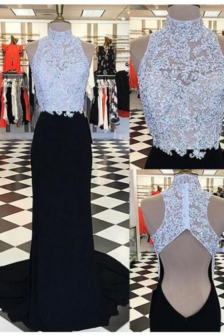 Prom Dresses,Evening Dress,Party Dresses,Glamorous High Neck Open Back Sweep Train Black Sheath Prom Dress with Appliques Beading