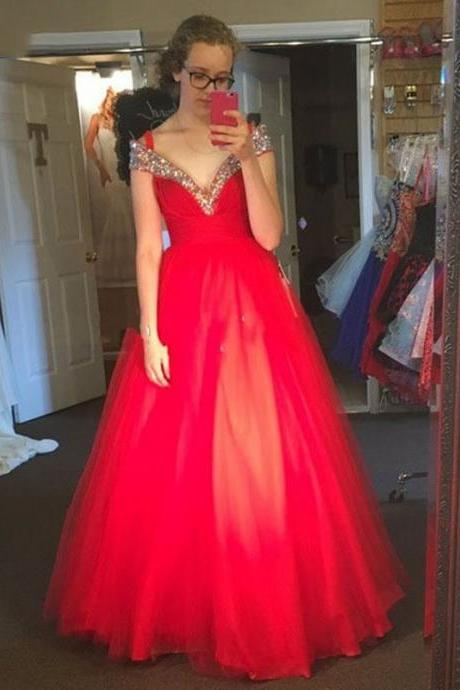 Prom Dresses,Evening Dress,Party Dresses,Off The Shoulder Red Prom Dresses, Short Cap Sleeve Long Red Party Dresses, Sexy V Neck Pageant Red Evening Dresses, Luxury Crystal Prom Dresses, Vintage 2017 Red Celebrity Dresses, A Line Cheap Red Tulle Party Dresses,