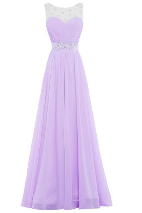 Prom Dresses,Evening Dress,Party Dresses,Bridesmaid Dresses, Long Adult Party Dress, Chiffon Beaded Lilac Bridesmaid Dresses ,Wedding Prom Gown