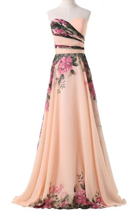 Floral Printed Floor Length A-Line Chiffon Prom Dress Featuring Ruched Sweetheart Bodice with Lace-Up Back