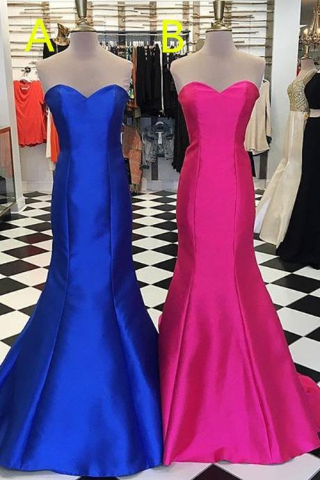 Royal Blue Lace Up Long Prom Dresses,Simple Cheap Sweetheart Prom Gowns,Elegant Bridesmaid Dresses,Hot Pink Party Dresses