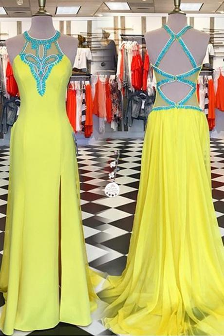 Yellow Long Prom Dresses,Beading Prtom Gowns,Prom Dresses,For Teens,Modest Evening Dresses.Charming Party Dresses,Women Dresses