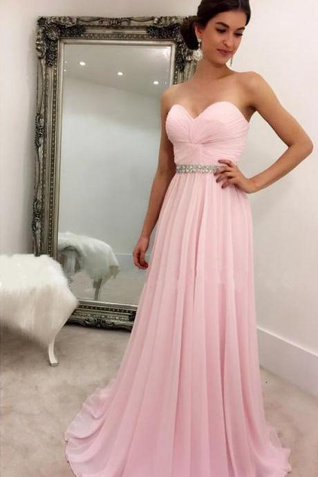 Simple Prom Dress, Floor Length Pink Chiffon Prom Dresses,Wedding Party Dresses,Chiffon Dresses for Bridemaid, Bridesmaid Dresses, Long Prom Dress