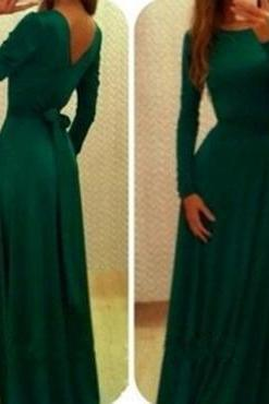 Sexy Long Sleeves V Back Backless Floor Length Dress with Bow, Long Prom Dress, Green Prom Dress, Red Prom Dress, Long Party Dress, Evening Dress, Woman Dresses