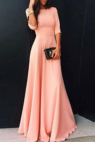 Womens's Stylish Round Neck 3/4 Sleeve Pure Color Dress Maxi Dresses, Long Prom Dress, Simple Prom Dress, Long Party Dress, Cheap Prom Dress, Woman Dresses