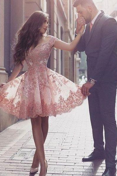 Homecoming Dresses, Dramatic Off Shoulder Short Sleeves Mini Blush Lace Homecoming Dress with Appliques, Short Pink Prom Dress, Lovely Homecoming Dress, Short Party Gown