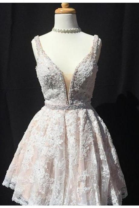 Chic Ivory V-Neck Sleeveless Short A-line Lace Prom Dress with Beading