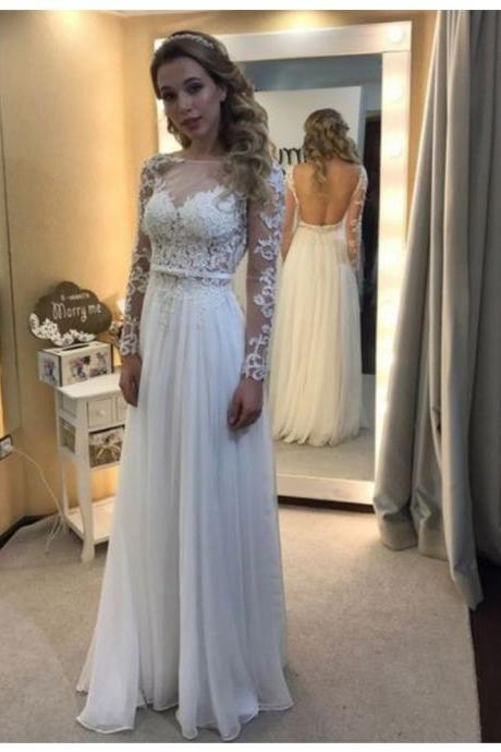 Elegant A-line Bateau Long Sleeves Illusion Back Long Prom Dress with Lace Appliques Bowknot