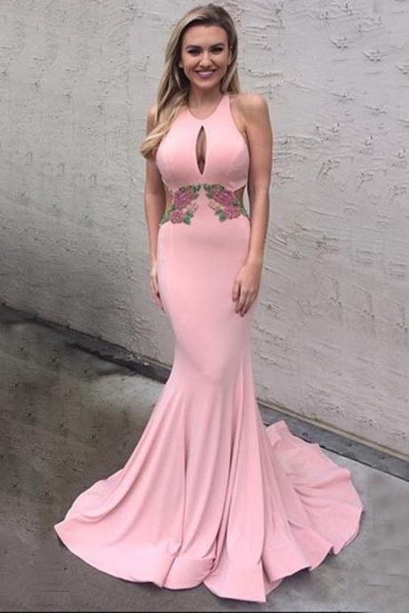 Sexy Round Neck Keyhole Sweep Train Pink Mermaid Prom Dress with Appliques