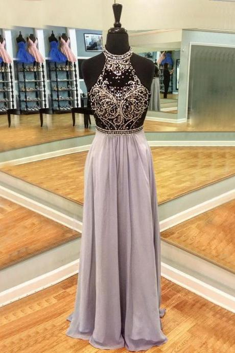 Round Neck Floor Length Lavender Open Back Prom Dress with Beading